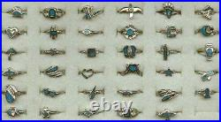 100 Vintage Genuine Turquoise Inlay USA Made Pinky Rings in 4-8 Made in 1980's