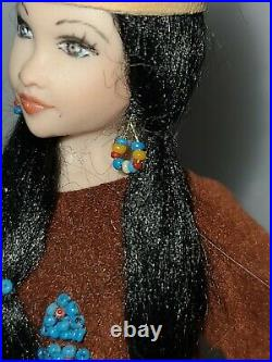 112 Scale Artist Made Porcelain Native American Doll Dollhouse Miniature Doll