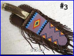11 Native American Algonquin Made & Designed Beaded Fringed Sheath & Knife