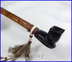 12 Black Steatite Stone Pipe, PeacePipe, Apache Hand Made