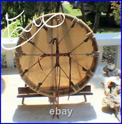 12 x 3 Native American Elk hide Drum Cherokee made William Lattie Cert Auth