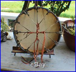 12x3 depth Native American Buffalo hand Drum Cherokee made William Lattie Cert