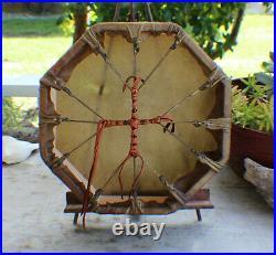 13 Native American Buffalo hand Drum Cherokee made William Lattie Cert of Auth