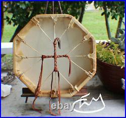 13 Native American Deer hide hand Drum Cherokee made William Lattie Cert Auth