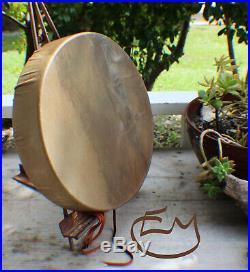 14 Native American Buffalo hand Drum Cherokee made William Lattie Cert of Auth