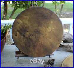 14 Native American Buffalo hide hand Drum Cherokee made William Lattie Cert Aut