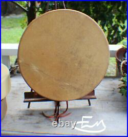14 Native American Elk hide hand Drum Cherokee made William Lattie Cert of Auth