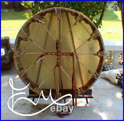 15 Native American Elk hide hand Drum Cherokee made William Lattie Cert of Auth
