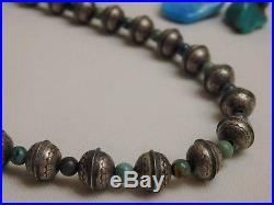 16 Hand Made Stamped STERLING Silver NAVAJO PEARLS Genuine TURQUOISE Necklace