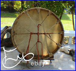 16 Native American Elk hide hand Drum Cherokee made William Lattie Cert of Auth