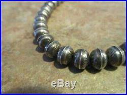 16 REAL OLD PAWN Navajo Sterling Silver PEARLS Bench Made Bead Necklace