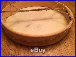 17 Lg Hand Made Native American Hand Held Drum With Striker/beater & Tote Bag