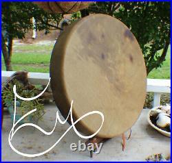 18 Native American Buffalo hand Drum Cherokee made William Lattie Cert of Auth