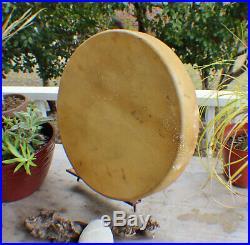18 Native American Deer hide hand Drum Cherokee made William Lattie Cert Auth
