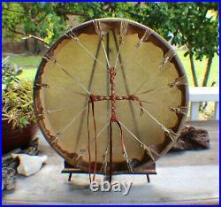 18 Native American Elk hide hand Drum Cherokee made William Lattie Cert of Auth