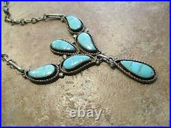 18 OLDER Vintage Zuni Hand Made Sterling Silver Inlay Turquoise Link Necklace