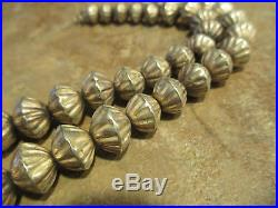 18 OLD PAWN Navajo Graduated Sterling Silver Hand Made FLUTED Bead Necklace