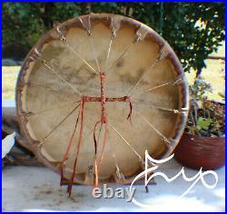 20 Native American Buffalo hide Drum Cherokee made William Lattie Cert of Auth