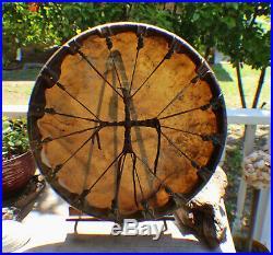 20 Native American Buffalo hide hand Drum Cherokee made William Lattie Cert Aut
