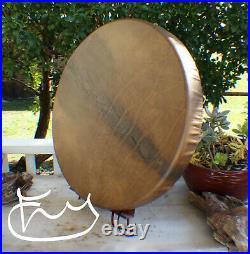 24 Native American Buffalo hand Drum Cherokee made William Lattie Cert of Auth