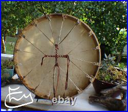 24 Native American Elk hide hand Drum Cherokee made William Lattie Cert of Auth