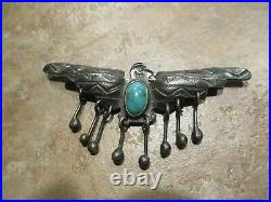 2 5/8 VERY OLD NAVAJO INDIAN MADE Coin Silver Turquoise THUNDERBIRD Pin
