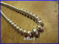 30 Vintage Navajo Graduated Sterling Silver PEARLS Bench Made Bead Necklace