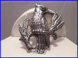 3D Blue Jay Turquoise Bird Brooch Pin Sterling Silver Signed Made N Mexico
