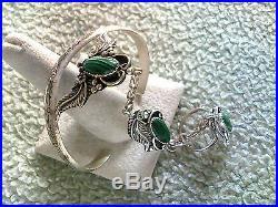 3 Malachite Stone Slave Bracelet Sterling Silver Navajo Made