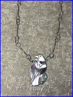 #494 Vintage Zuni Eagle Stone Inlay, CD Leekity, Hand Made Large Link Chain 925