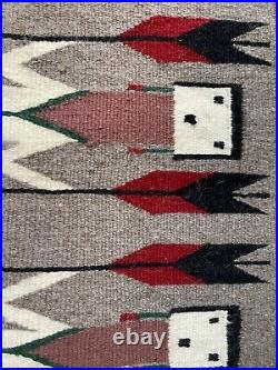 52X36 Big Vintage hand made woven Yei Navajo Rug Minnie Yazzie Native American