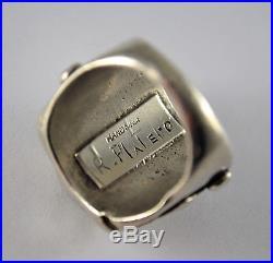 #7444- Hand Made Navajo Ramone Platero Jasper & Sterling Silver -Ring Sz 9.5