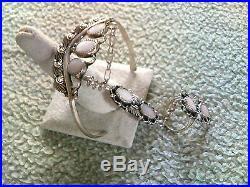 7 Cabochon Lite Pink Mussel Shell Slave Bracelet Sterling Navajo Made