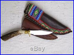 8.5 Native American Algonquin Made Blackfeet Designed Beaded Sheath & Knife