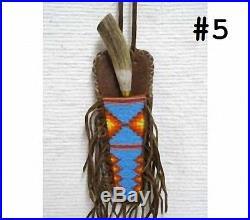 9.25 Native American Algonquin Made & Designed Beaded Fringed Sheath & Knife