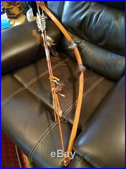 AWESOME VINTAGE NATIVE AMERICAN HAND MADE BOW AND ARROW SET 1970s SUPER