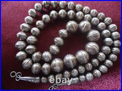 A Great 24 Inch Vintage Sterling Silver Navajo Indian Hand Made Bead Necklace