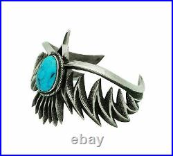 Aaron Anderson, Bracelet Design, Eagle, Kingman Turquoise, Navajo Made, 6 3/4