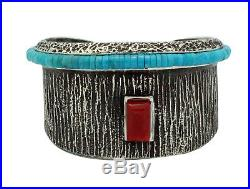 Aaron Anderson, Bracelet, Mediterranean Coral, Turquoise Heishe, Navajo Made