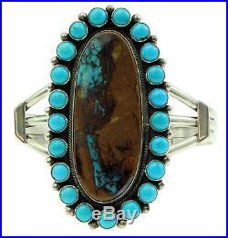 Aaron Toadlena, Bracelet, Pilot Mountain Turquoise, Cluster, Navajo Made, 6 3/4'