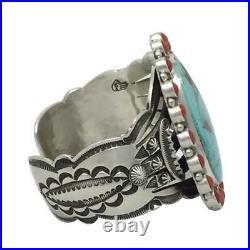 Aaron Toadlena, Custer Bracelet, Royston Turquoise, Coral, Navajo Made, 6 3/4