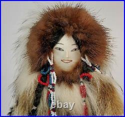 Alaska Inuit Doll Signed Caroline Penayah Savoonga Genuine Fur Artisan Made 1994