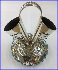 Amazing Native American Navajo Sterling Silver Hand Made Wadding Vase Pottery
