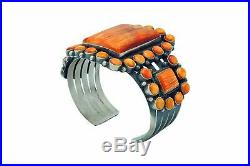 Anthony Skeets, Bracelet, Orange Spiny Oyster Shell, Heavy, Navajo Made, 6 5/8