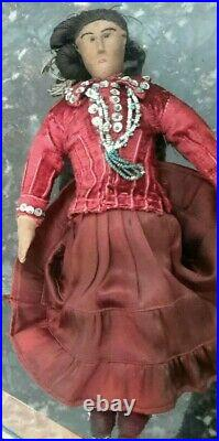 Antique Doll Cloth Native American Hand Made Torquoise Beads 1890s/1900 12