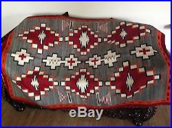 Antique Early 1900 Era Navajo Indian Native American Hand Made Woven Wool Rug