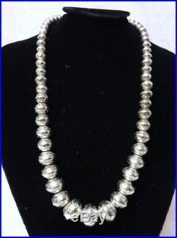 Antique Early Navajo Sterling Silver Hand Made Pearls Beads Large Necklace