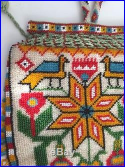 Antique Hand Made Native American Beaded Very Colorful Purse Pouch Excellent