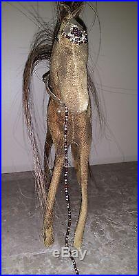 Antique Native American / Hand Made Doll Horse / Beads / Folk Art / Horse Hair