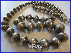 Antique Native American Indian Necklace Old Pawn Stamped Hand Made Beads Navajo